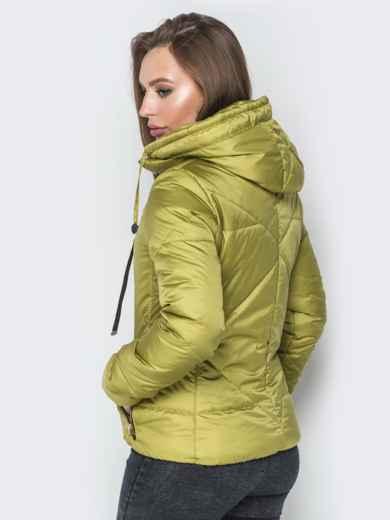 Зелёная куртка со съемным капюшоном на молнии - 20068, фото 3 – интернет-магазин Dressa