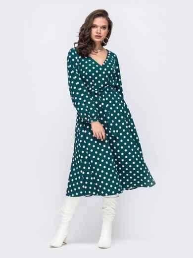 Зеленое платье батал в горох с расклешеной юбкой 51506, фото 1