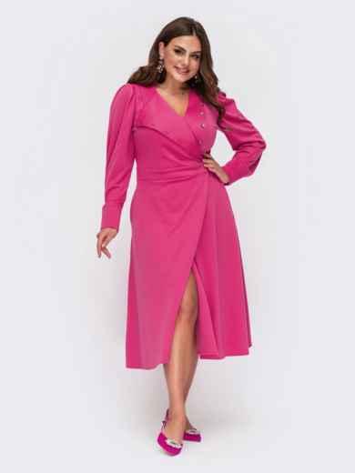 Розовое платье большого размера на запах с воротником 55626, фото 1