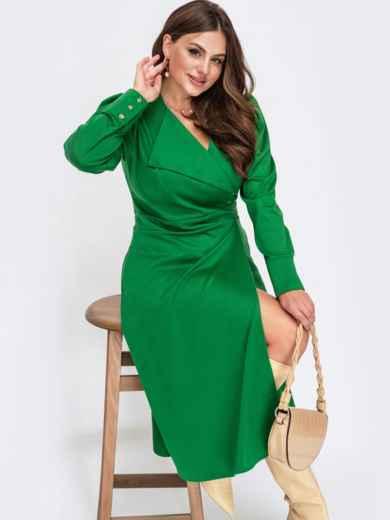 Зеленое платье большого размера на запах с воротником 55627, фото 1