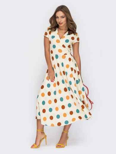 Платье молочного цвета в горох на запах 53919, фото 1
