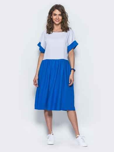 Платье свободного кроя из льна бело-синее - 12548, фото 1 – интернет-магазин Dressa