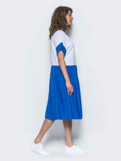 Платье свободного кроя из льна бело-синее - 12548, фото 2 – интернет-магазин Dressa
