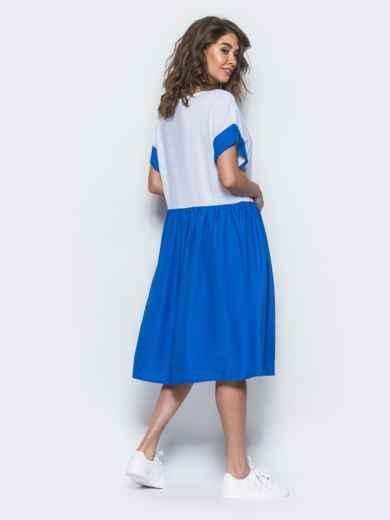 Платье свободного кроя из льна бело-синее - 12548, фото 3 – интернет-магазин Dressa