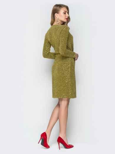 Платье золотистого цвета из люрекса с ложным запахом - 18695, фото 3 – интернет-магазин Dressa
