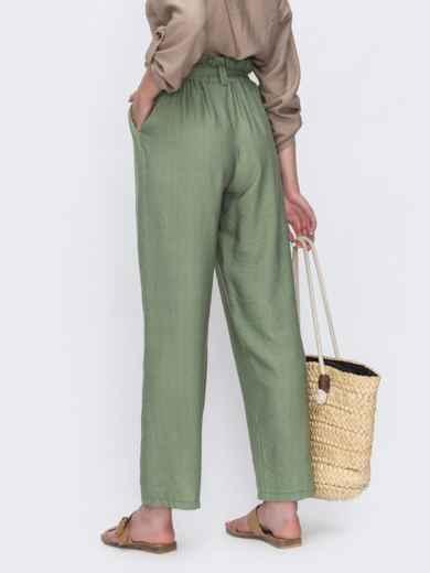 Широкие брюки цвета хаки с высокой посадкой 49345, фото 2