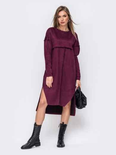 Платье из замши бордового цвета с удлиненной спинкой 51603, фото 1