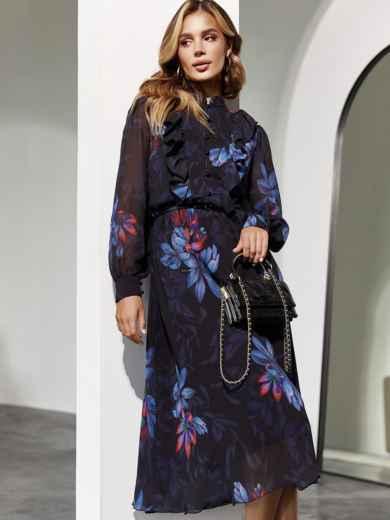 Черное платье из шифона с цветочным принтом и рюшами на полочке 55219, фото 1