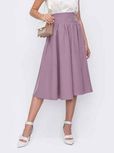 Фиолетовая юбка полусолнце с широким поясом 49604, фото 2