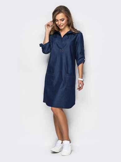 Платье из облегчённого денима тёмно-синее - 11455, фото 2 – интернет-магазин Dressa