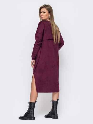 Платье из замши бордового цвета с удлиненной спинкой 51603, фото 2