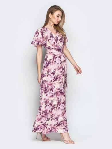 Принтованное платье-макси из софта с запахом пудровое - 21350, фото 2 – интернет-магазин Dressa