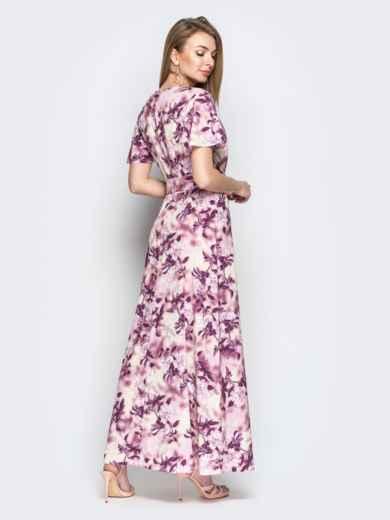 Принтованное платье-макси из софта с запахом пудровое - 21350, фото 3 – интернет-магазин Dressa