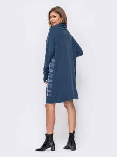 Синее платье в клетку с воротником-хомут 51604, фото 3