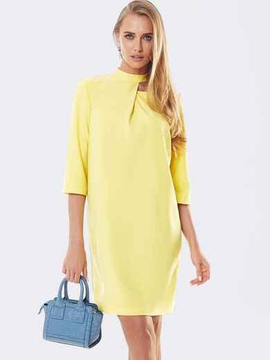 Желтое платье со складкой и фигурным вырезом горловины 53310, фото 1