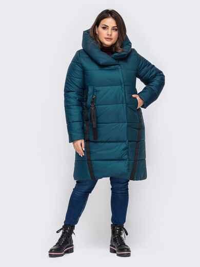 Зимняя куртка большого размера с капюшоном зелёная  51569, фото 1