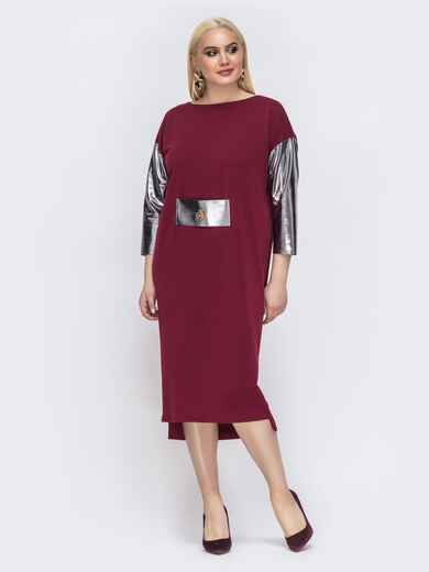 Бордовое платье батал с серебристыми рукавами 43965, фото 1