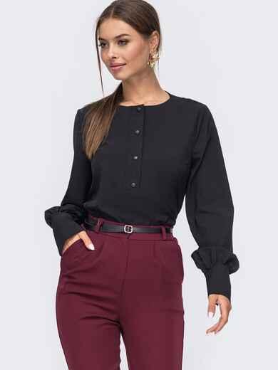 Чёрная блузка свободного кроя из софта 50165, фото 1