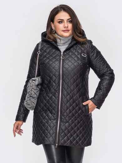 Демисезонная куртка большого размера с капюшоном черная 50675, фото 1