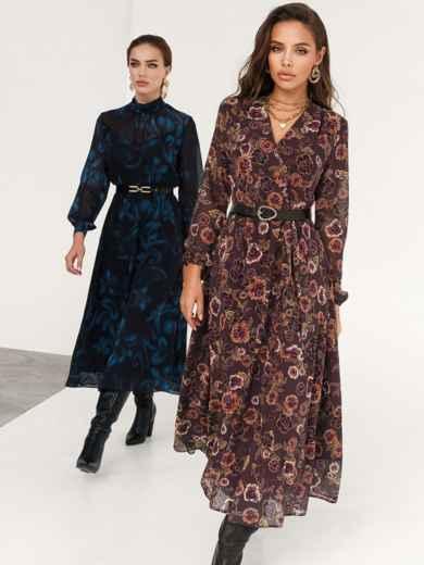 Коричневое платье с принтом и юбкой-полусолнце 52538, фото 1