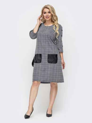 Платье батал в клетку с контрастными карманами серое 50676, фото 1