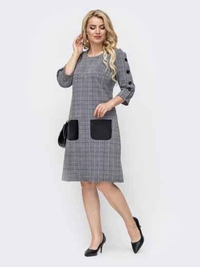 Платье батал в клетку с контрастными карманами серое 50676, фото 2