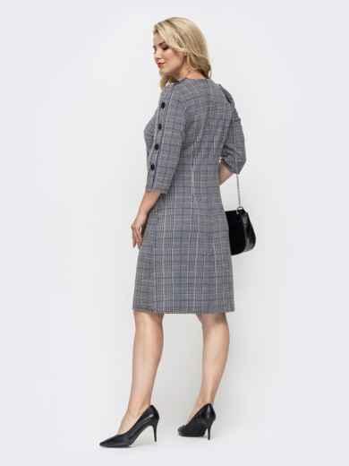 Платье батал в клетку с контрастными карманами серое 50676, фото 3