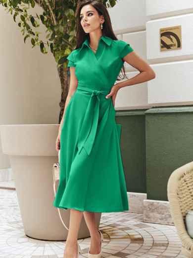 """Платье на запах с двухъярусным рукавом """"крылышко"""" зелёное 48901, фото 2"""