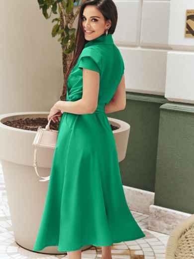 """Платье на запах с двухъярусным рукавом """"крылышко"""" зелёное 48901, фото 3"""