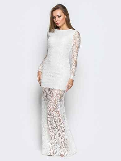 Платье в пол белого цвета из гипюра с открытой спиной - 18246, фото 1 – интернет-магазин Dressa