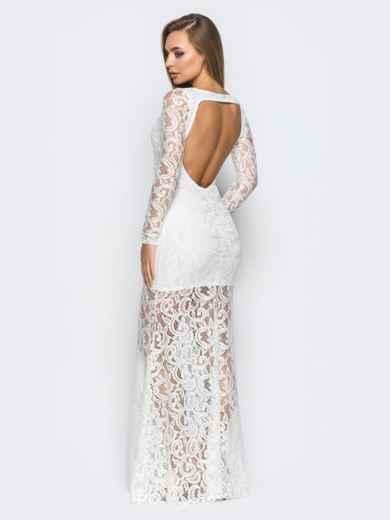 Платье в пол белого цвета из гипюра с открытой спиной - 18246, фото 2 – интернет-магазин Dressa