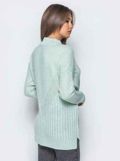 Удлиненный бирюзовый свитер ажурной вязки - 17095, фото 2 – интернет-магазин Dressa