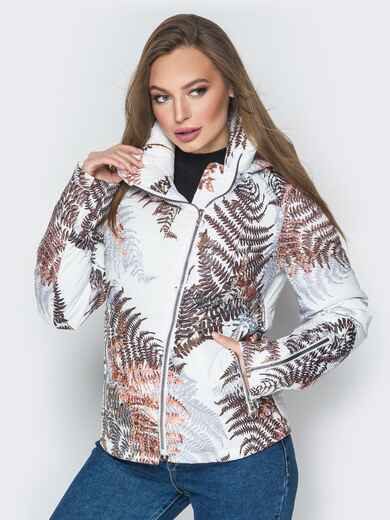 Белая куртка с растительным принтом и воротником-стойкой 20262, фото 1