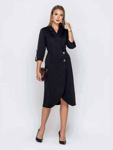 Чёрное платье-пиджак из джерси с карманами 40806, фото 1