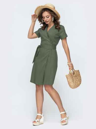 Льняное платье цвета хаки на запах с рюшей по вырезу  49796, фото 1