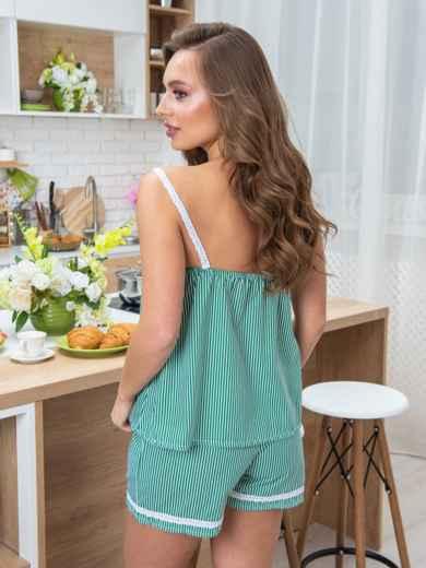 Хлопковый комплект в полоску с шортами зелёный - 20417, фото 2 – интернет-магазин Dressa