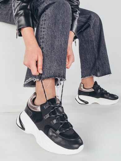 Кроссовки из текстиля чёрного цвета с белой подошвой 51441, фото 1