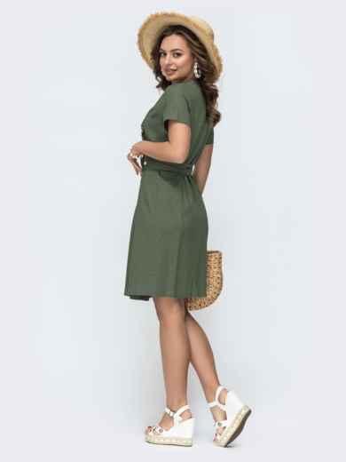 Льняное платье цвета хаки на запах с рюшей по вырезу  49796, фото 3
