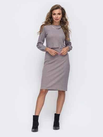 Серое платье приталенного кроя с люрексом 50618, фото 1