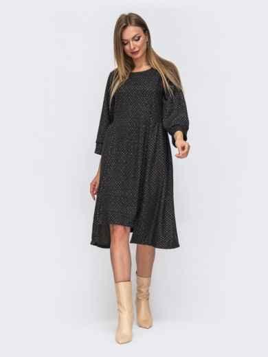 Свободное платье с принтом и асимметричным низом графитовое 51197, фото 1