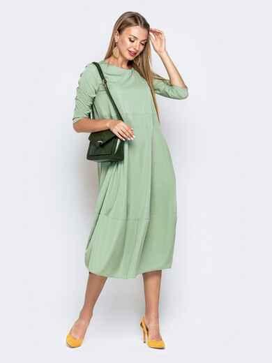Свободное платье зеленого цвета с карманами 40800, фото 1