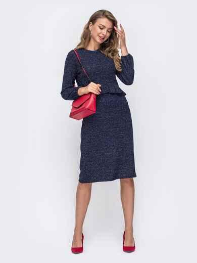 Тёмно-синее платье приталенного кроя с люрексом 50617, фото 1