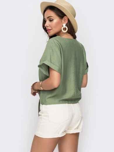 Легкая блузка прямого кроя хаки - 49314, фото 2 – интернет-магазин Dressa