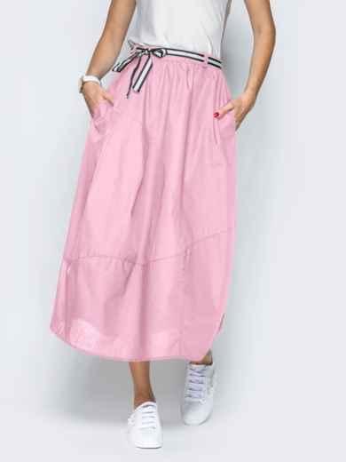 Льняная юбка розового цвета с карманами - 39380, фото 2 – интернет-магазин Dressa