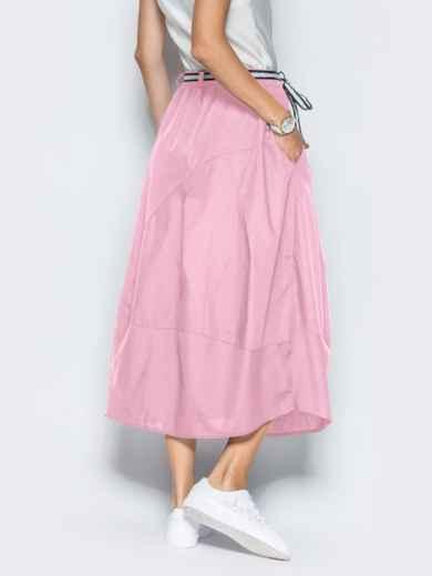 Льняная юбка розового цвета с карманами - 39380, фото 3 – интернет-магазин Dressa