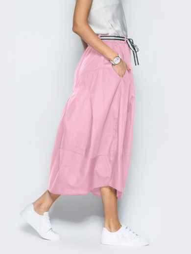 Льняная юбка розового цвета с карманами - 39380, фото 4 – интернет-магазин Dressa
