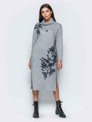 Меланжевое платье серого цвета в стиле oversize - 17595, фото 2 – интернет-магазин Dressa