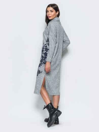 Меланжевое платье серого цвета в стиле oversize - 17595, фото 3 – интернет-магазин Dressa