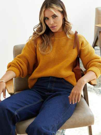 Объемный укороченный свитер желтого цвета 54799, фото 1