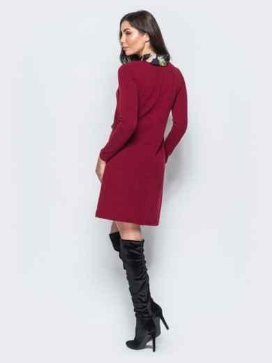 Платье бордового цвета из ангоры без застёжек - 17590, фото 2 – интернет-магазин Dressa